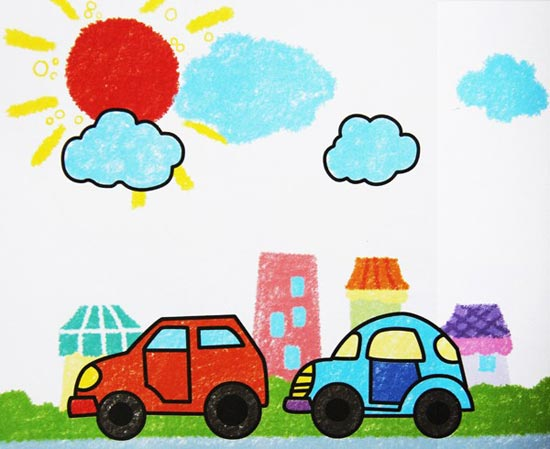 汽车-蜡笔画图集图片_儿童蜡笔画_少儿图库_中国儿童图片