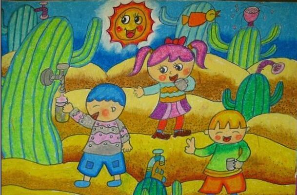 沙漠-蜡笔画图集