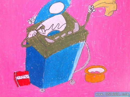洗衣机-蜡笔画图集