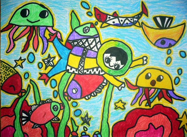 海底世界-蜡笔画图集16