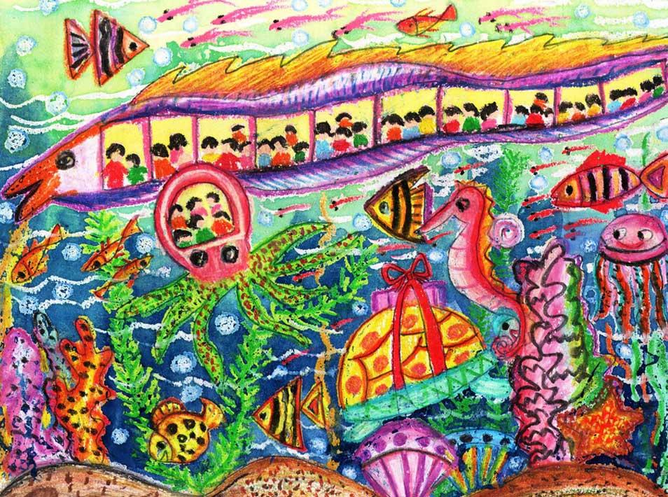 海底世界-蜡笔画图集35