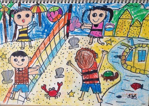 海滩-蜡笔画图集