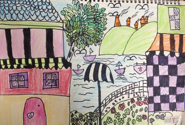 海边-蜡笔画图集