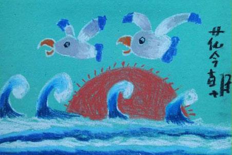 海鸥-蜡笔画图集