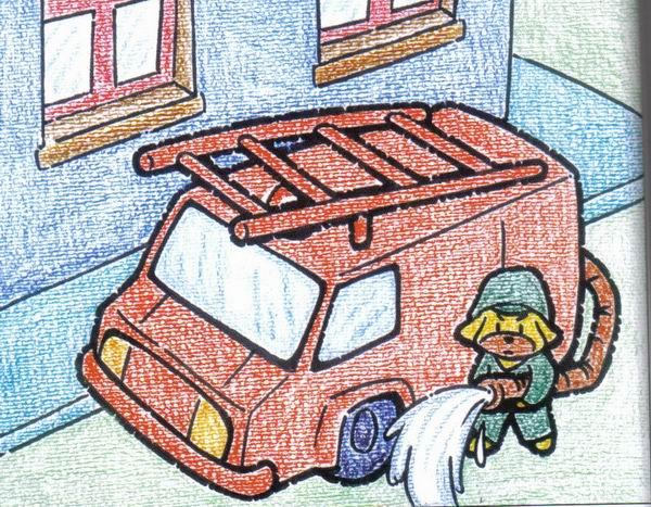 消防车-蜡笔画图集