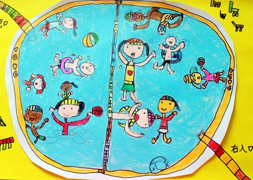 游泳-蜡笔画图集