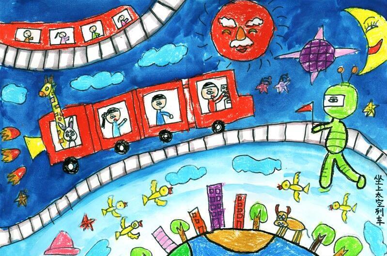 火车-蜡笔画图集
