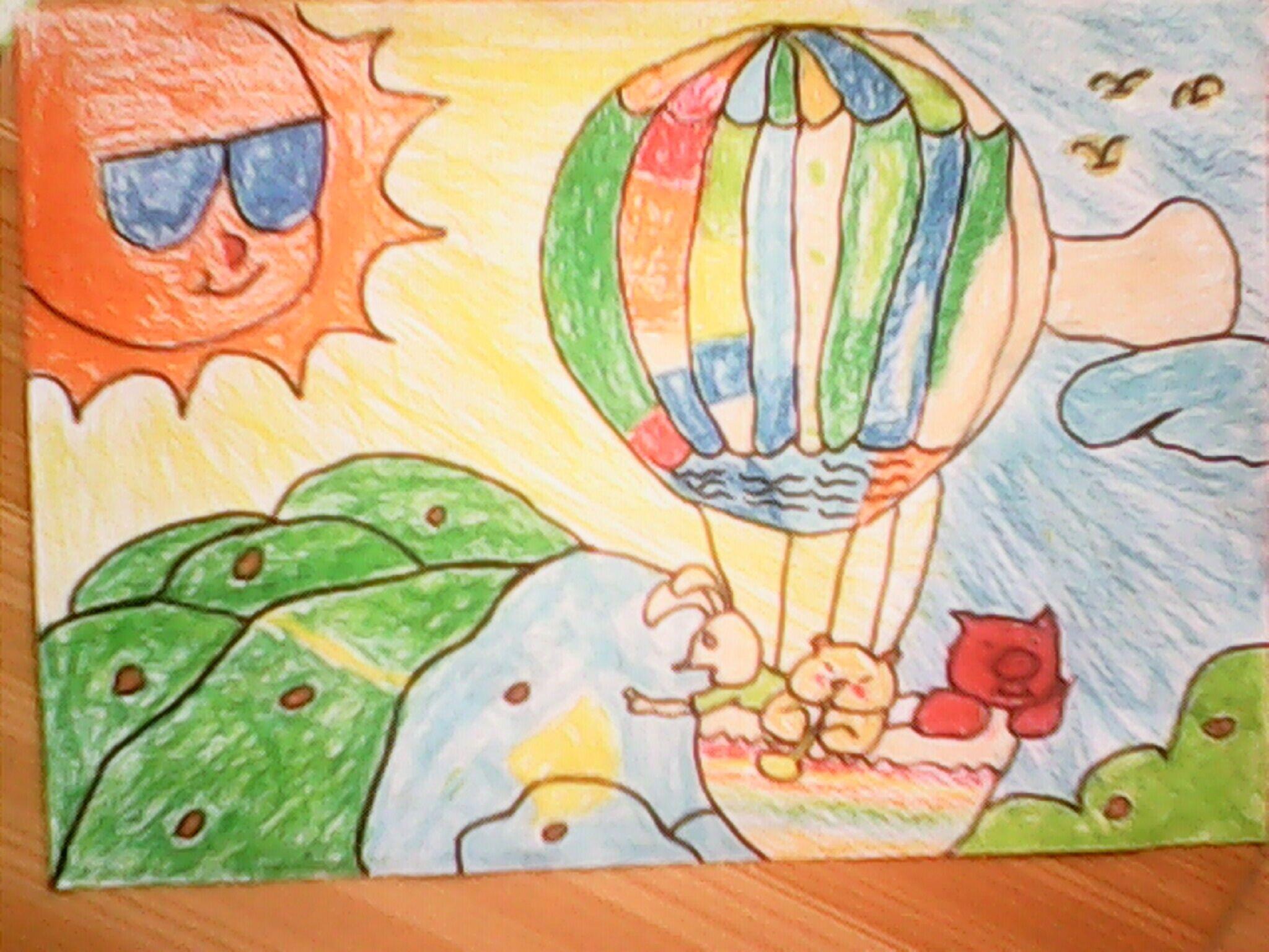 热气球-蜡笔画图集图片