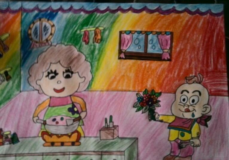 爸爸妈妈-蜡笔画图集10