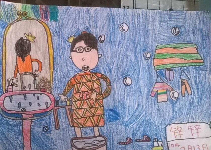 爸爸妈妈-蜡笔画图集图片_儿童蜡笔画_少儿图库_中国