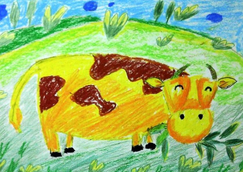 牛-蜡笔画图集