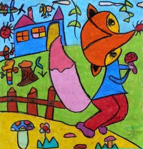 狐狸-蜡笔画图集