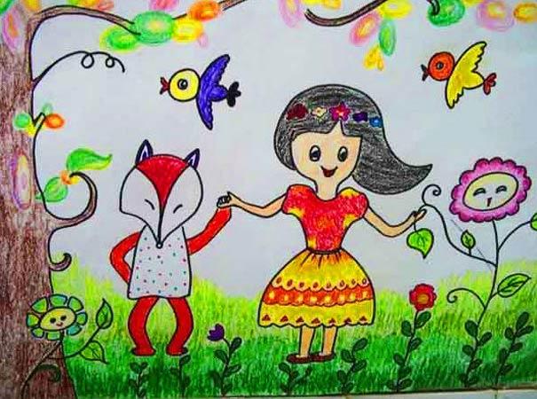 狐狸-蜡笔画图集图片_儿童蜡笔画_少儿图库_中国儿童