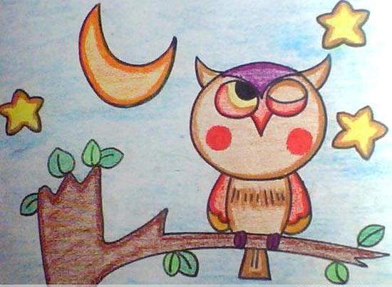 猫头鹰-蜡笔画图集