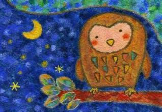 猫头鹰-蜡笔画图集3