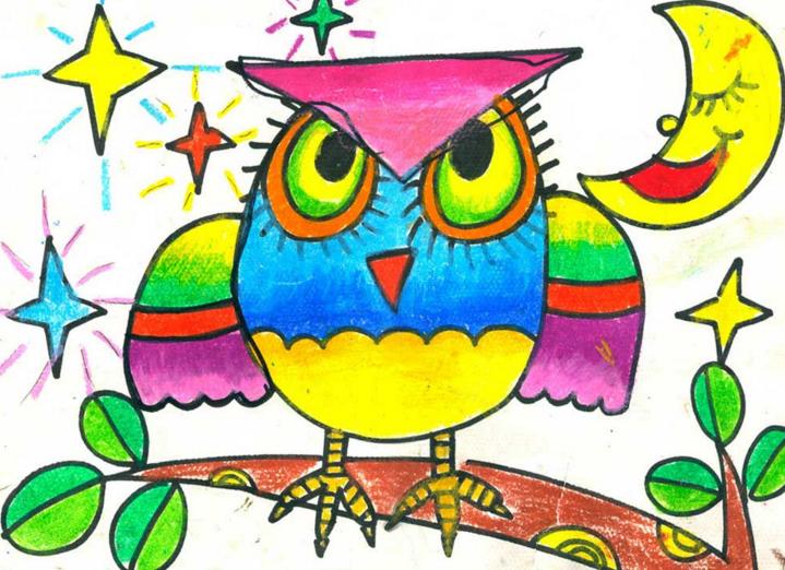 猫头鹰-蜡笔画图集4