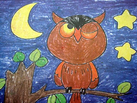 猫头鹰-蜡笔画图集5