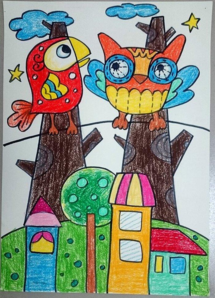 猫头鹰-蜡笔画图集6