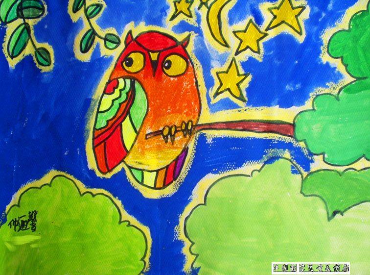 猫头鹰-蜡笔画图集7