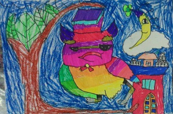 猫头鹰-蜡笔画图集8