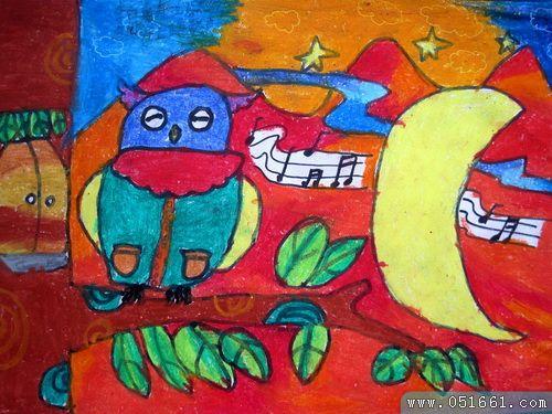 猫头鹰-蜡笔画图集9