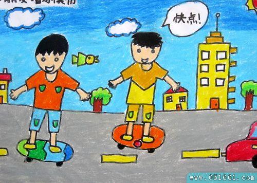 玩滑板-蜡笔画图集