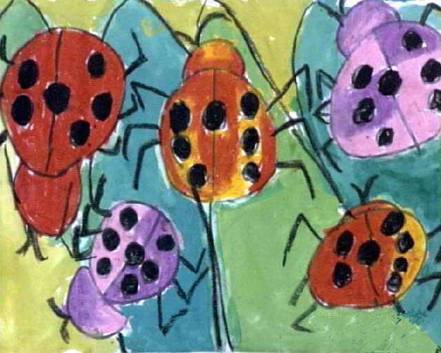 瓢虫-蜡笔画图集