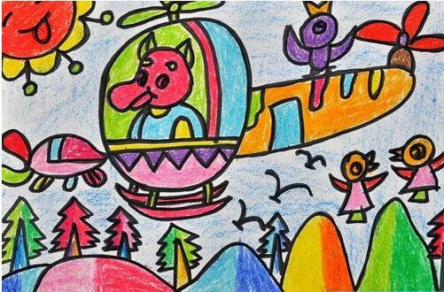 直升机-蜡笔画图集