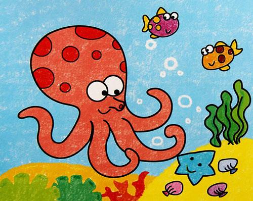章鱼-蜡笔画图集
