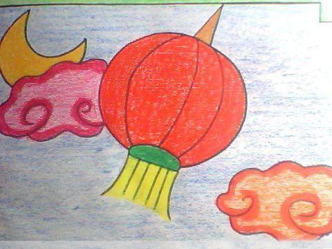 红灯笼-蜡笔画图集
