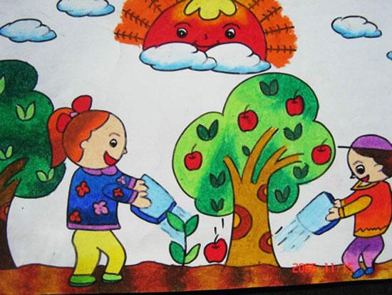 给树浇水-蜡笔画图集图片_儿童蜡笔画_少儿图库_中国