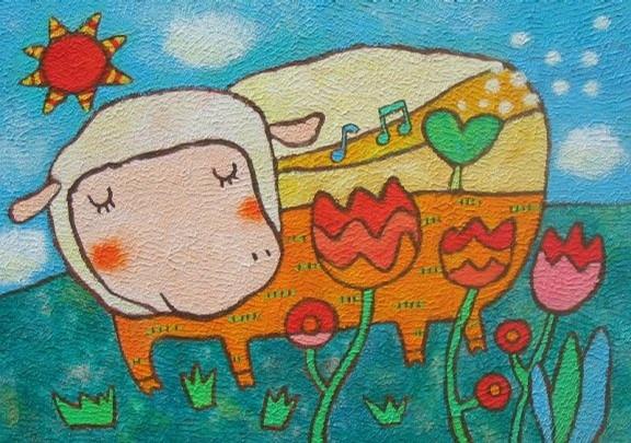 绵羊-蜡笔画图集