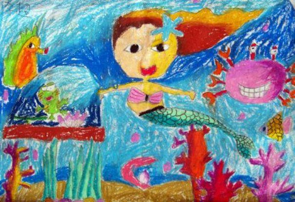 美人鱼-蜡笔画图集