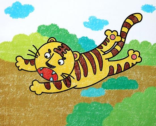 老虎-蜡笔画图集