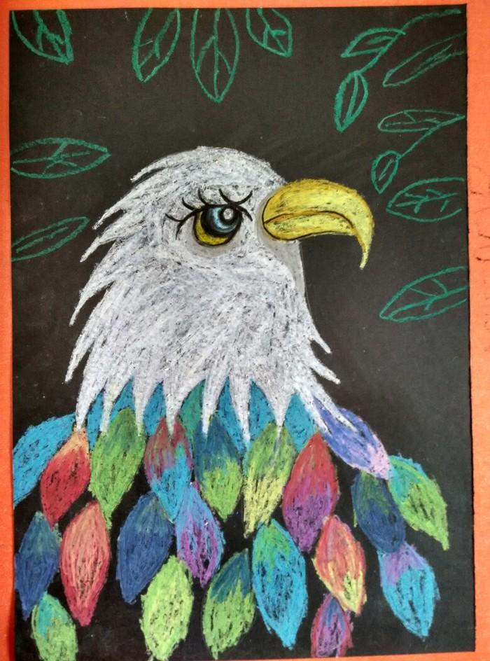 老鹰-蜡笔画图集