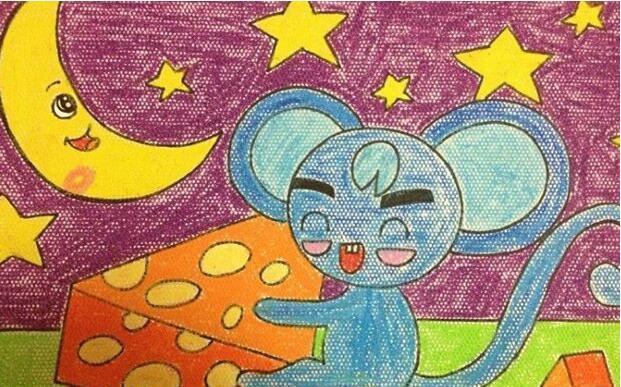 老鼠-蜡笔画图集