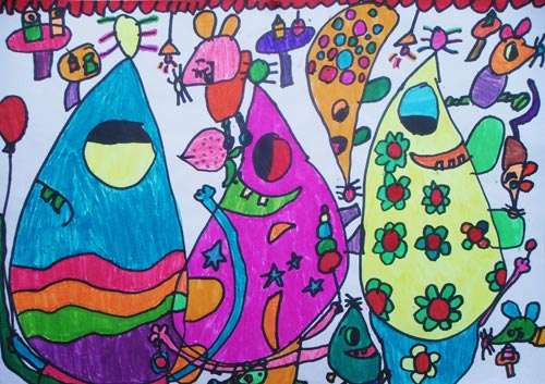 老鼠-蜡笔画图集2