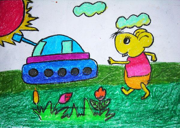 老鼠-蜡笔画图集4