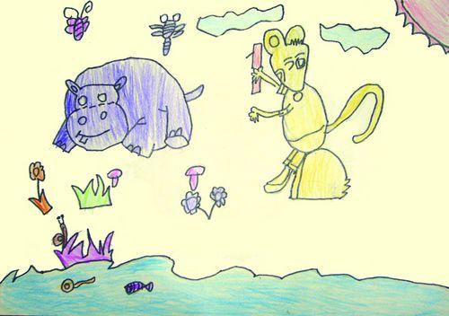 老鼠-蜡笔画图集9
