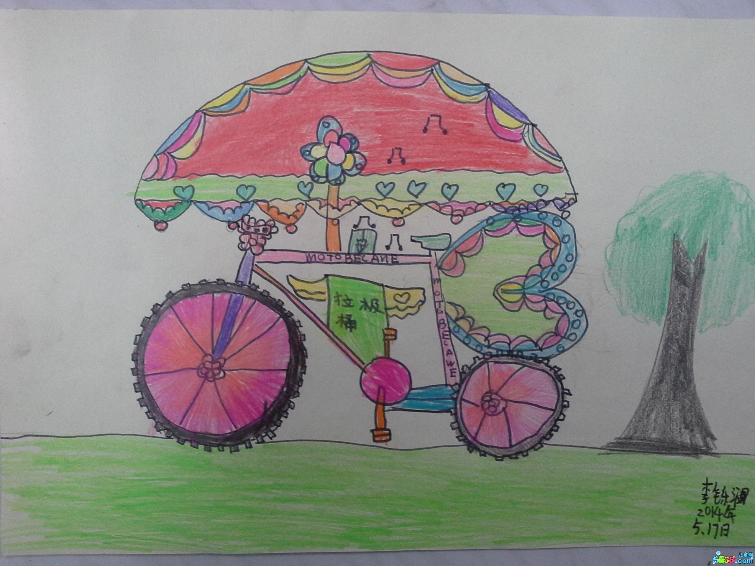 自行车-蜡笔画图集图片_儿童蜡笔画_少儿图库_中国图片