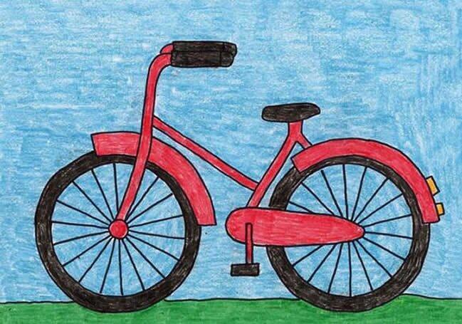 自行车-蜡笔画图集4