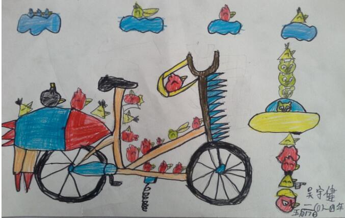 自行车-蜡笔画图集6