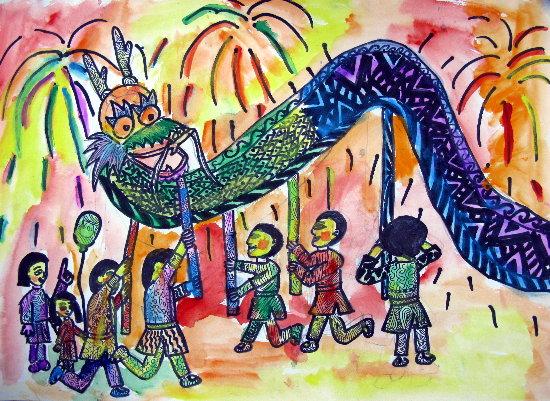 舞龙狮-蜡笔画图集