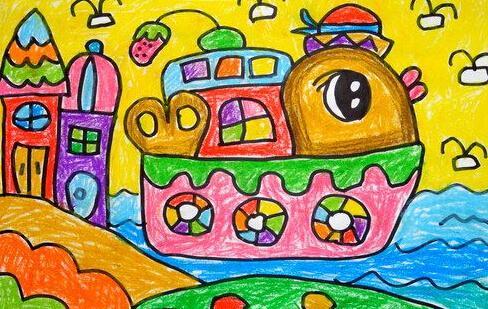 船-蜡笔画图集9