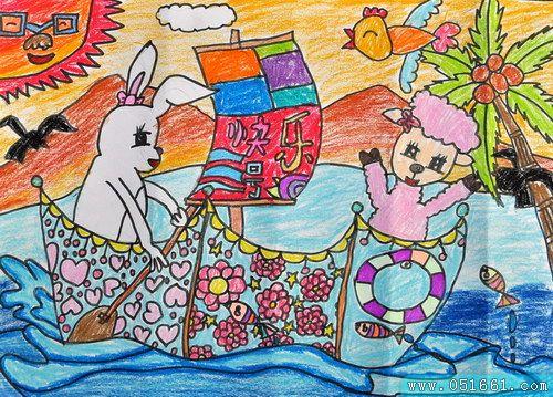 船-蜡笔画图集10