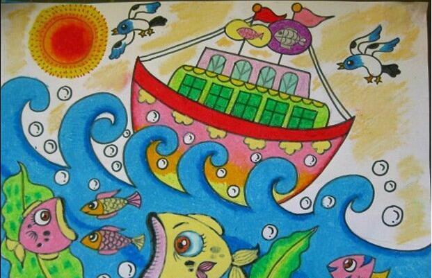 船-蜡笔画图集12