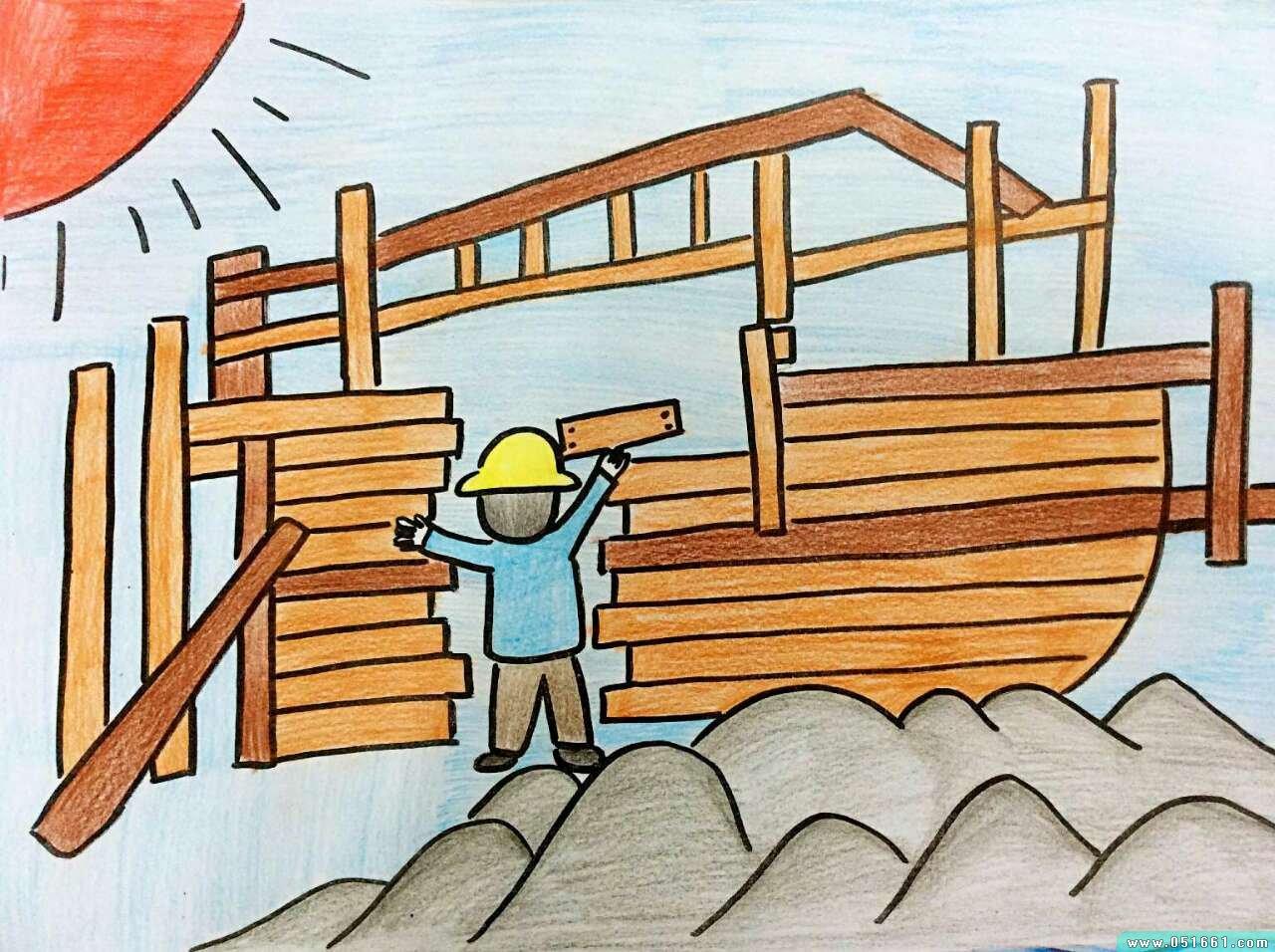 船-蜡笔画图集23