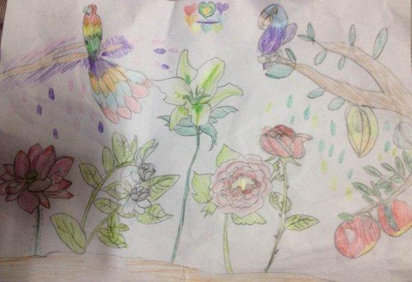 花丛中-蜡笔画图集2