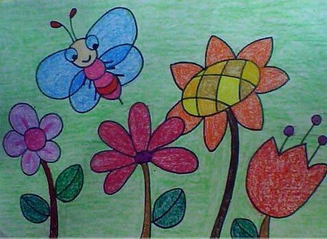 花丛中-蜡笔画图集3