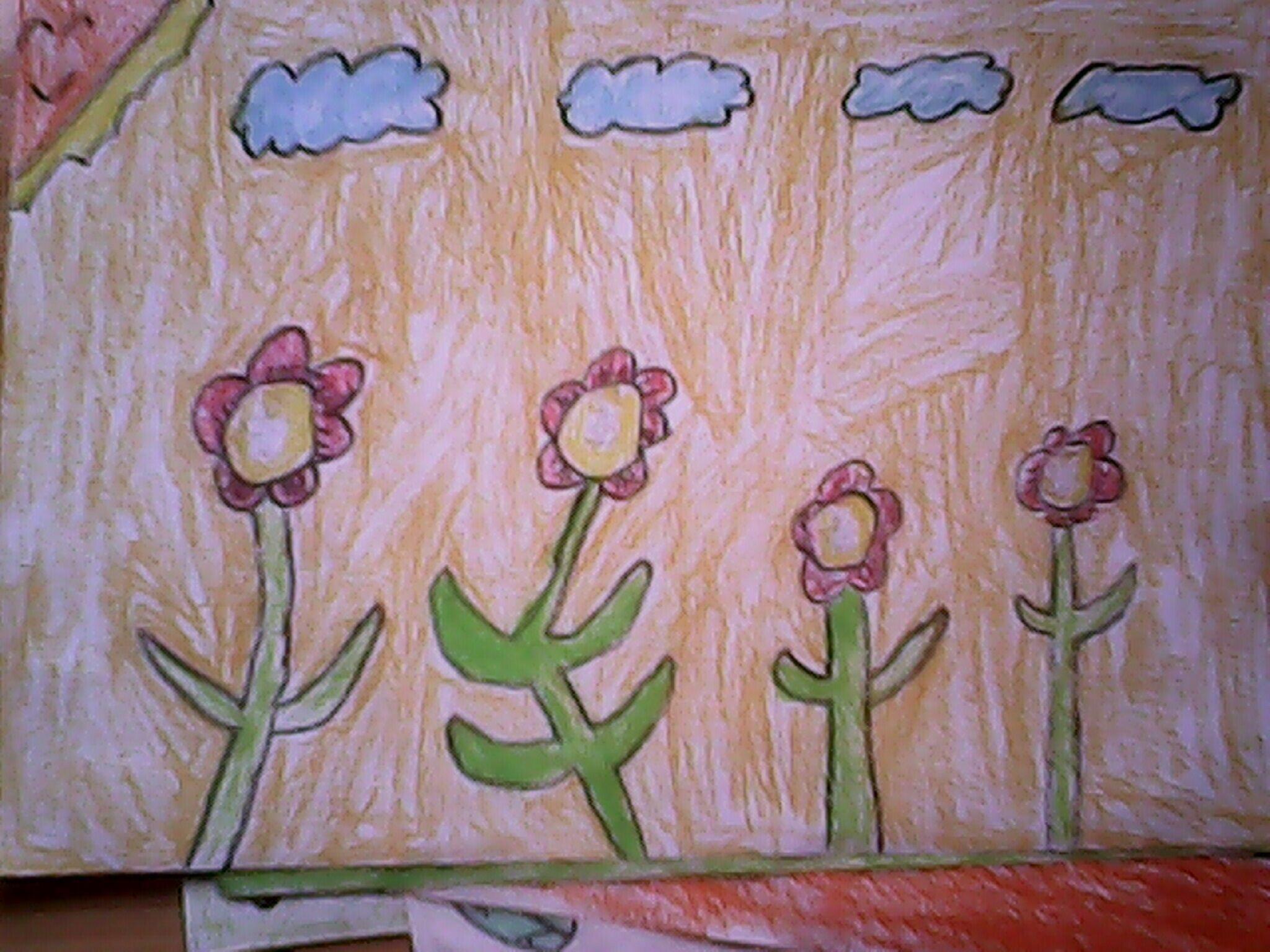 花朵-蜡笔画图集2